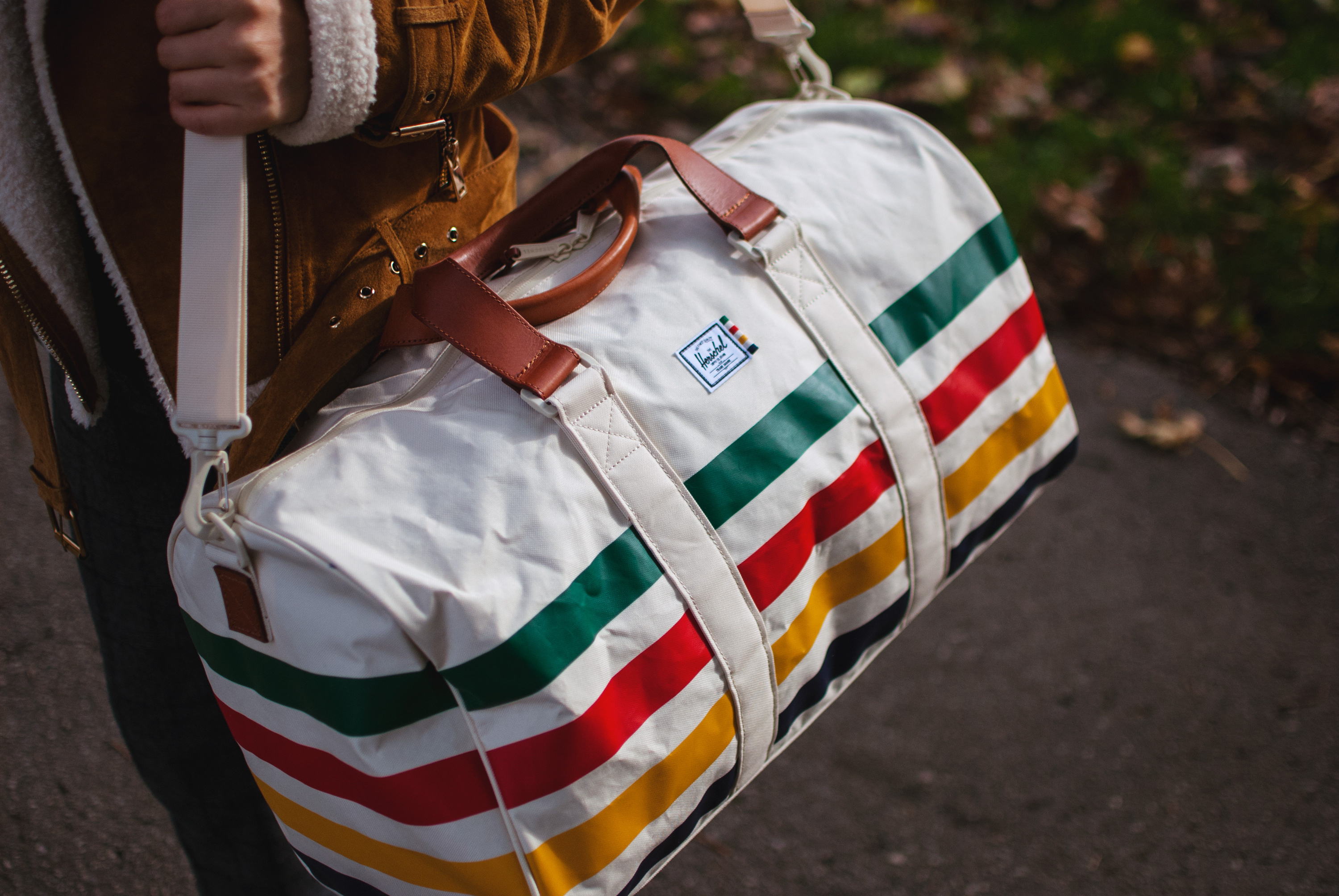e07678708e4 Each bag combines the iconic Hudson s Bay Point Blanket stripes with  premium Herschel Supply finishes