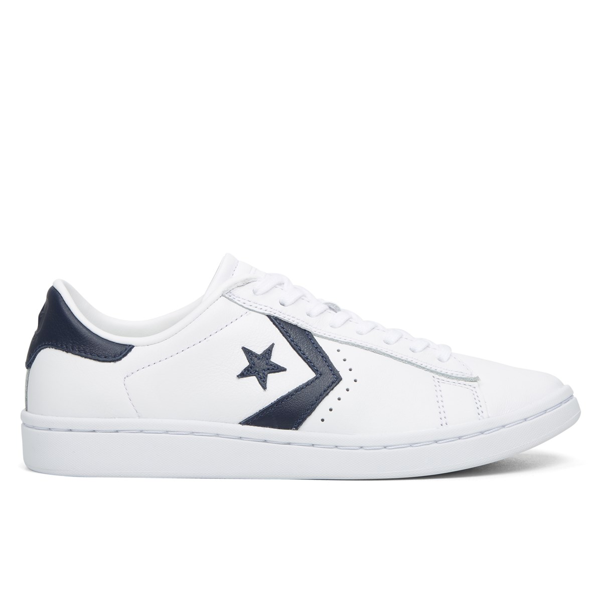 Women's Pro Leather Low Top White/Navy Sneakers