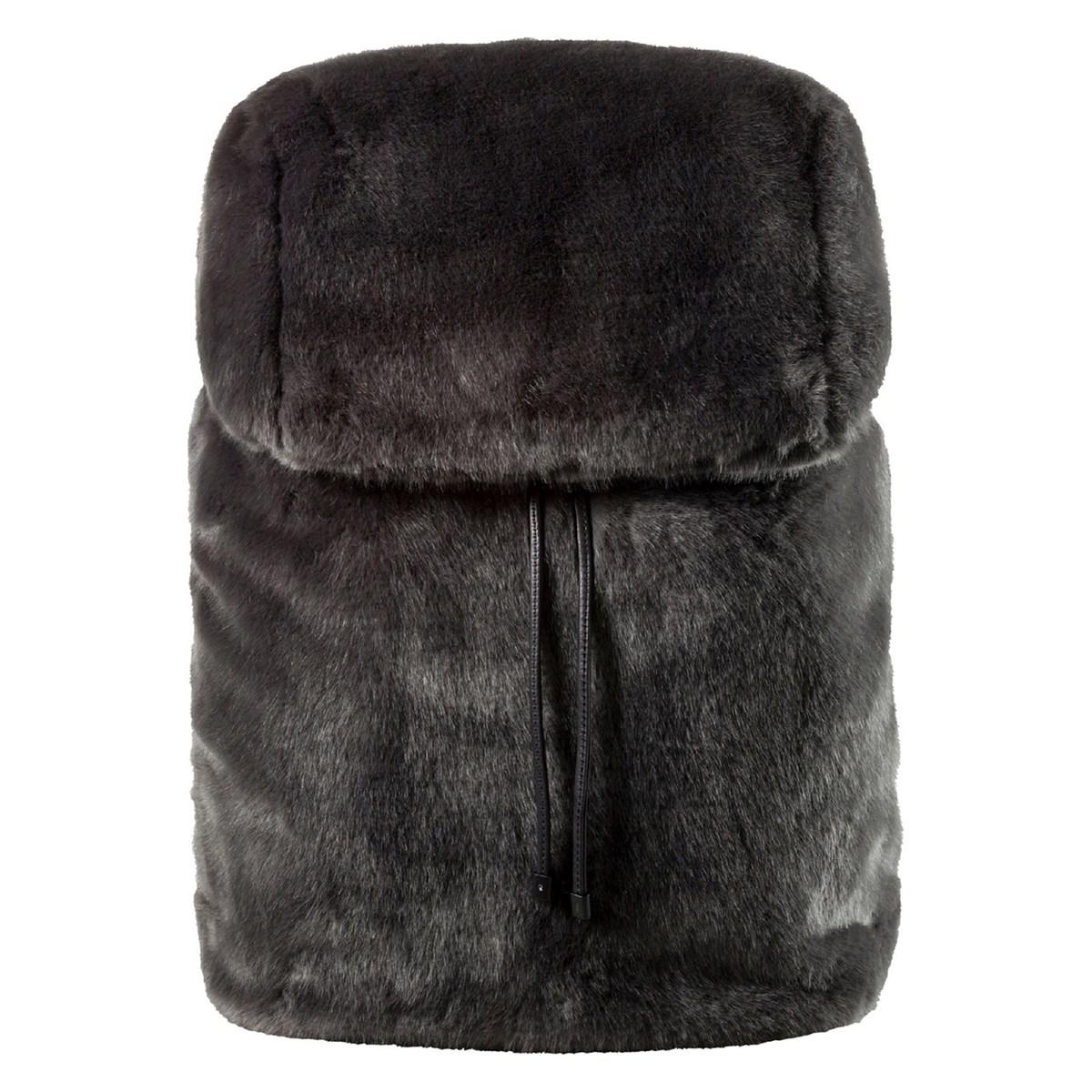 Fur Dark Grey Backpack Little Burgundy