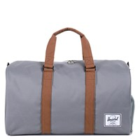 Novel Weekender Duffle Bag in Light Grey and Tan