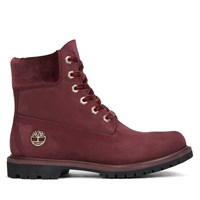 Women's 6 Inch Premium Velvet Burgundy Boot