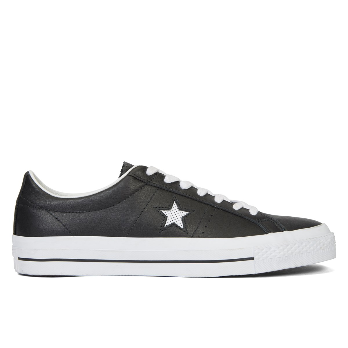 Men's One Star OX Leather Black & White Sneaker