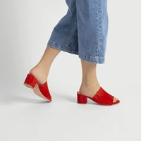 Women's Lucia Heel Mule Red Suede