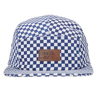 Davis 5- Panel Camper Hat in True Blue/ White Check