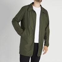 Men's Long Coach Jacket in Dark Olive