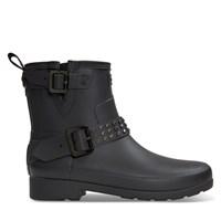 Women's Refined Stud Biker Rain Boots in Black