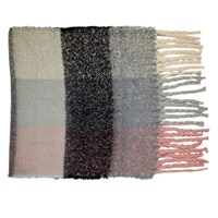 Women's Grey and Pink Scarf